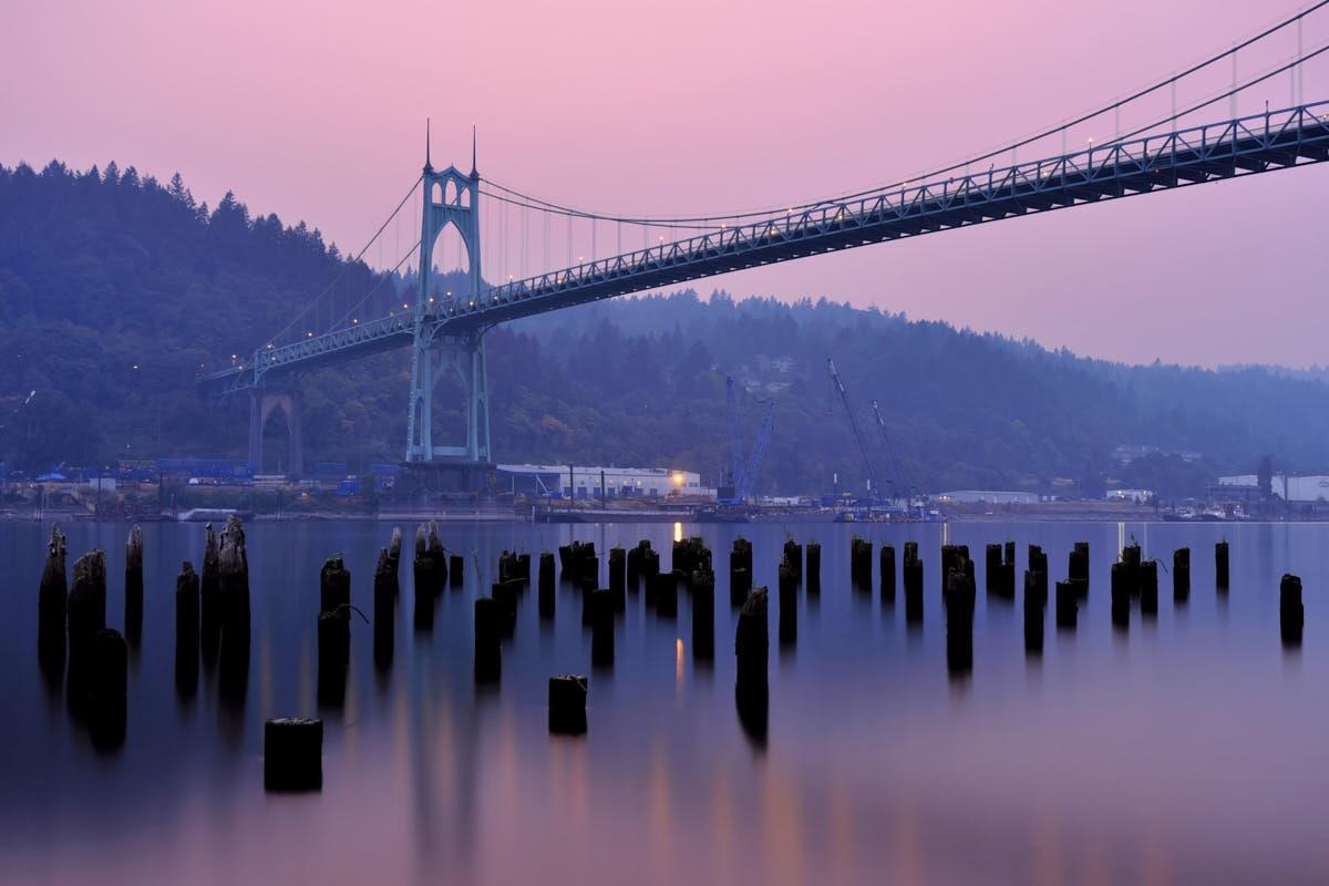 OR: St Johns Bridge Smoky Sunset
