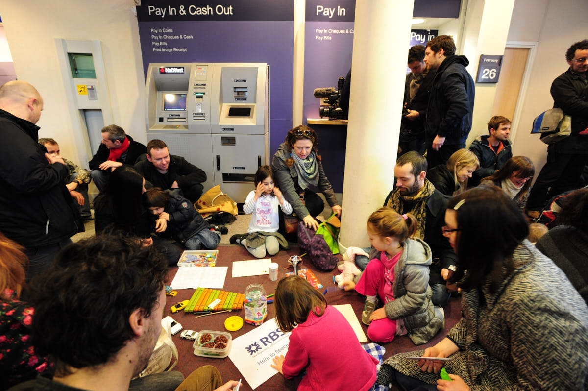 UK: UK Uncut Turn Camden NatWest Into Creche