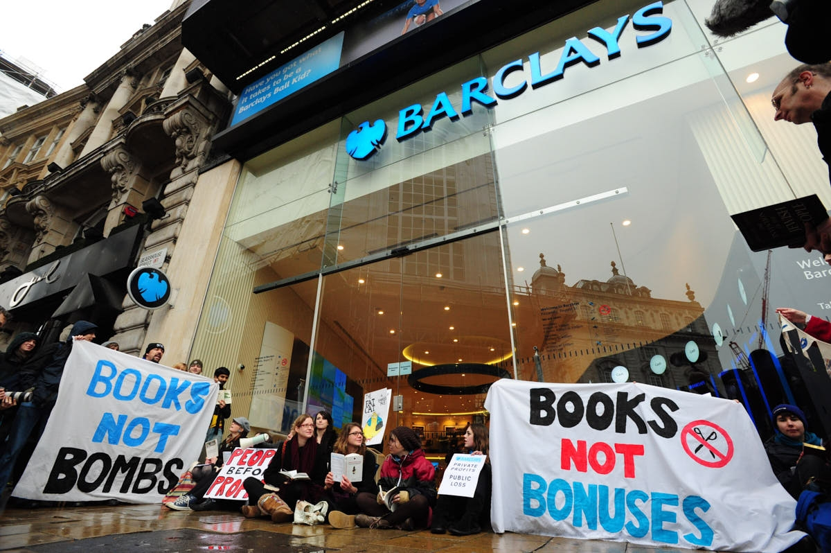 UK: UK Uncut Force Closure of Barclays Bank in Piccadilly Circus