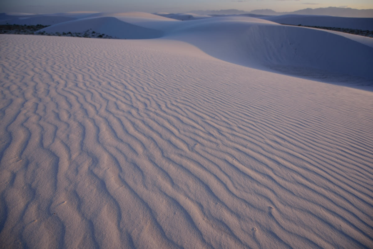 NM: Sunset Over Gypsum Dunes at White Sands National Monument